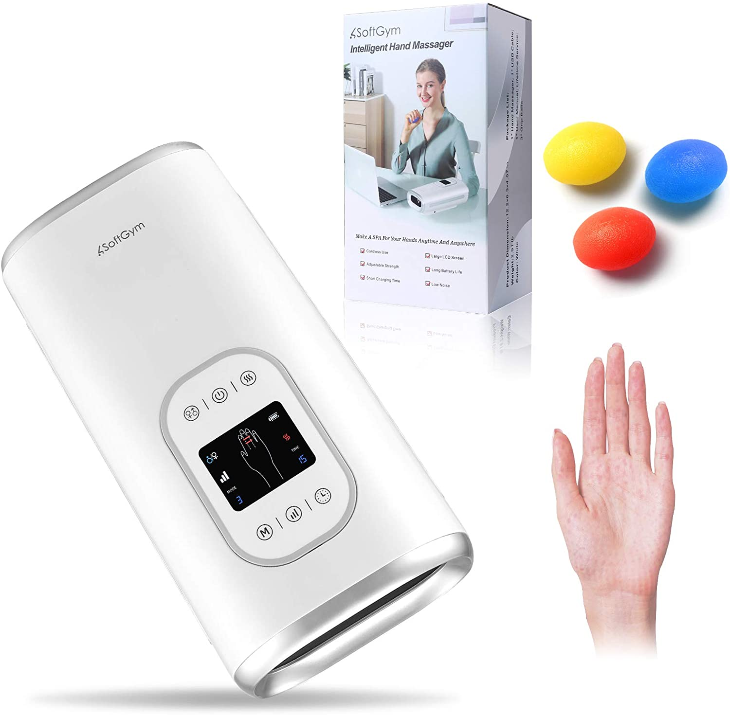 SoftGym Cordless Electric Hand Massager Machine with Heat